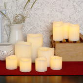Melted Edge Flameless Wax 11-Candle Centerpiece Set, Ivory