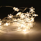 Warm White Mini 40 LED Snowflake Battery String Lights