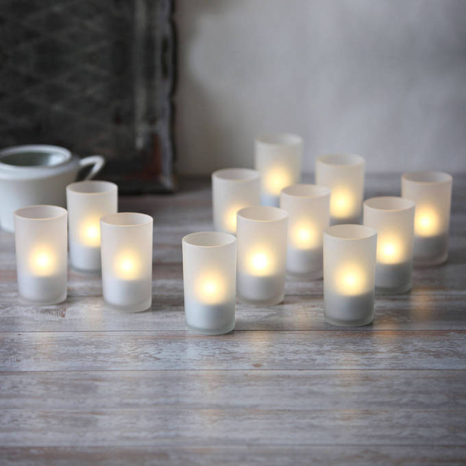Rechargeable Flameless Tea Lights with Frosted Glass Holder, Set of 12