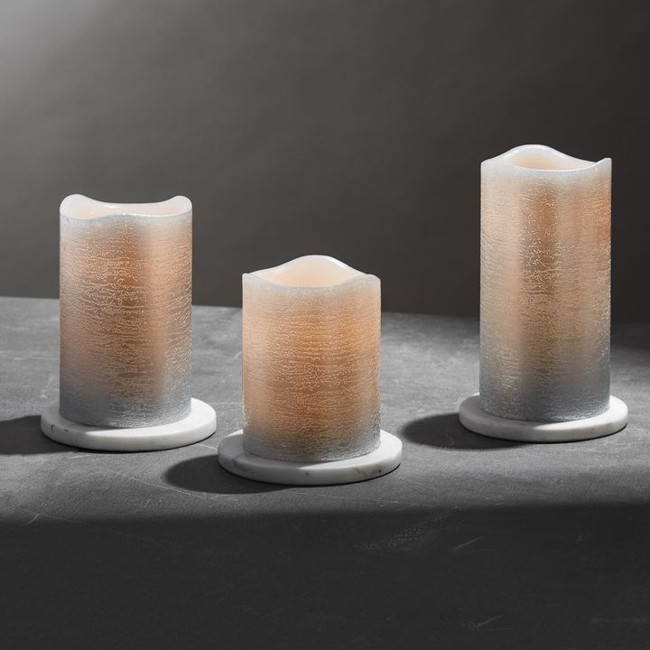 silver distressed meltededge flameless pillar candles set of 3 - Flameless Candles With Timer