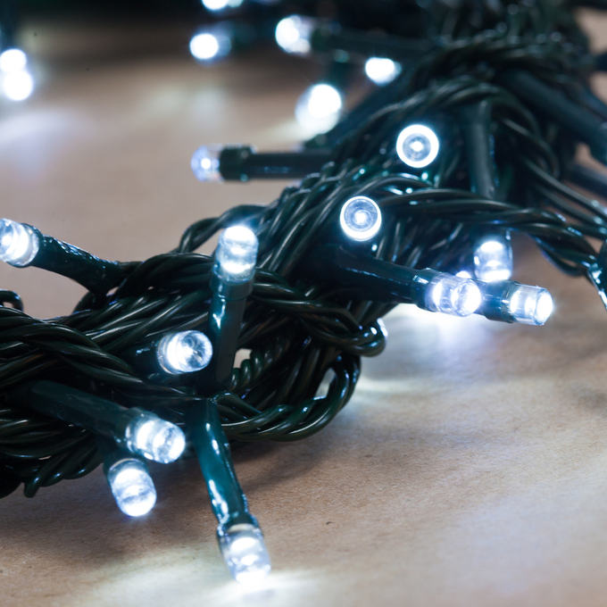 Cool White Battery String Lights with Timer, 100 LEDs