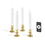 """White 7"""" Flameless Taper Candles with Removable Gold Bases, Set of 4"""
