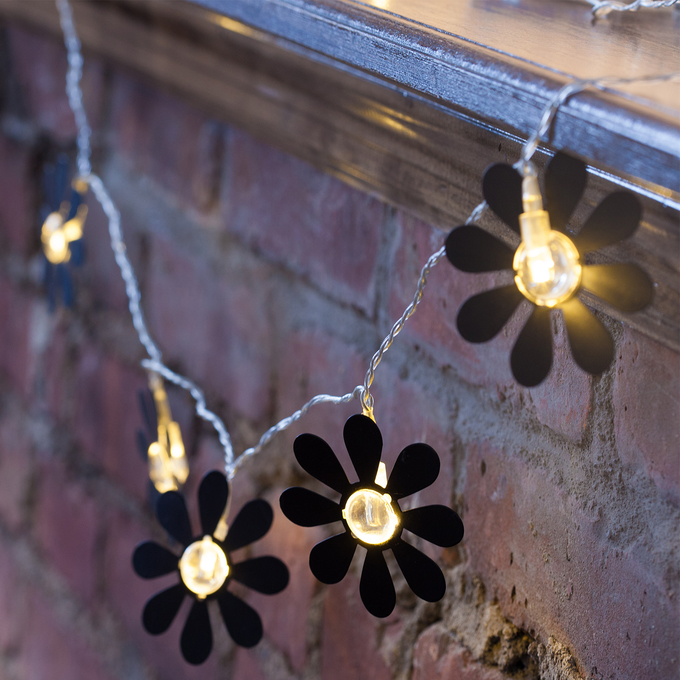 Black Daisy Battery Operated String Lights, Strand of 8