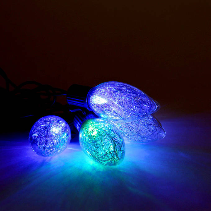 color changing tinsel plug in string lights strand of 10 c9 bulb