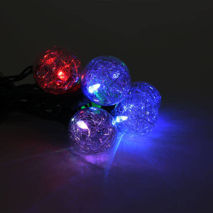Color Changing Tinsel Plug-in String Lights, Strand of 10 -  G40 Bulb