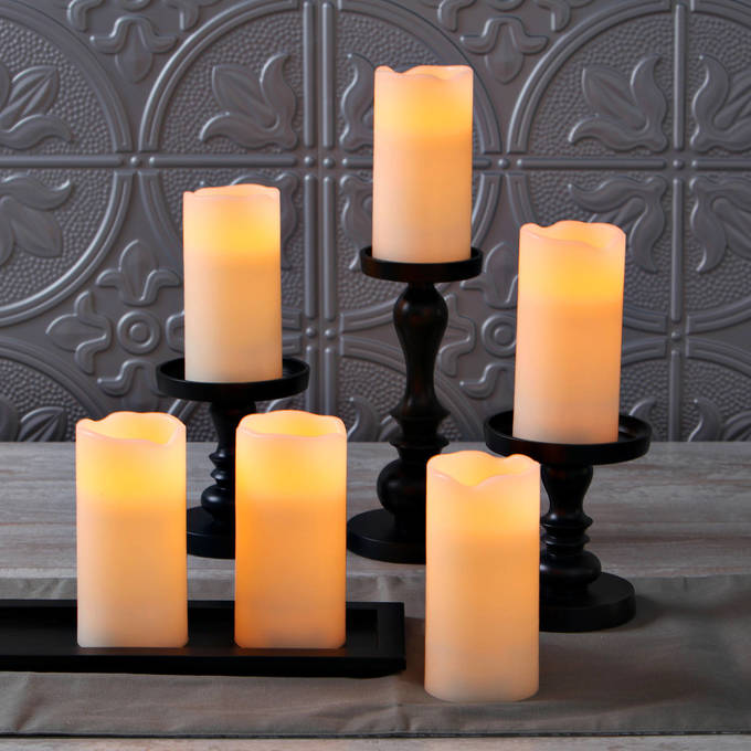 Ivory Melted-Edge Flameless Pillar Candles, Set of 6