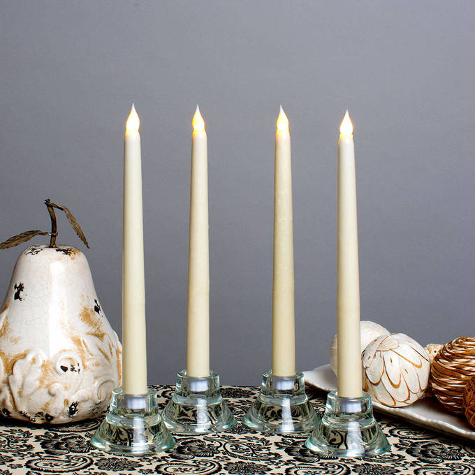 "Classic Ivory 10"" Wax Flameless Taper Candles, Set of 4"