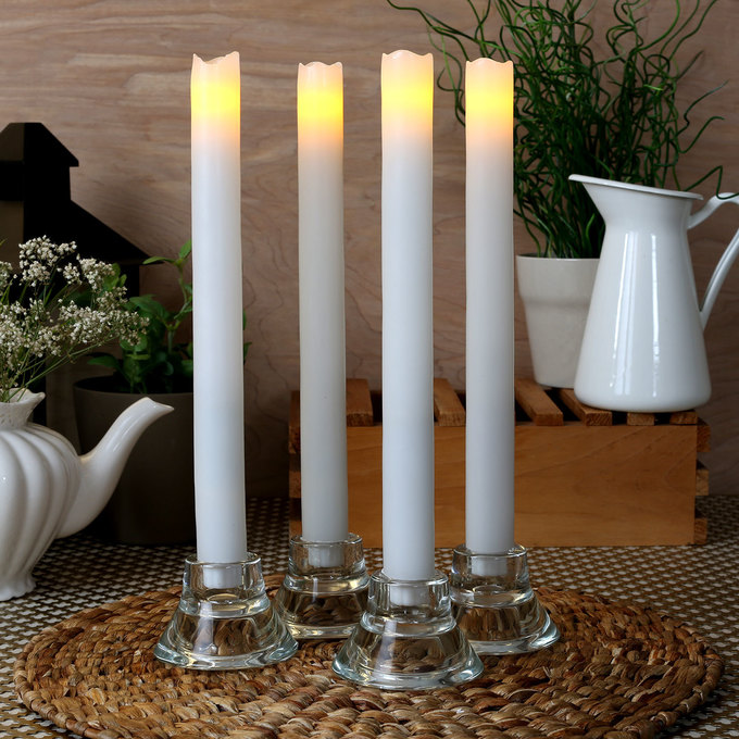 "Laurent White 11"" Melted-Edge Wax Flameless Taper Candles, Set of 4"