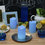 Blue Outdoor Flameless Pillar Candles, Set of 3