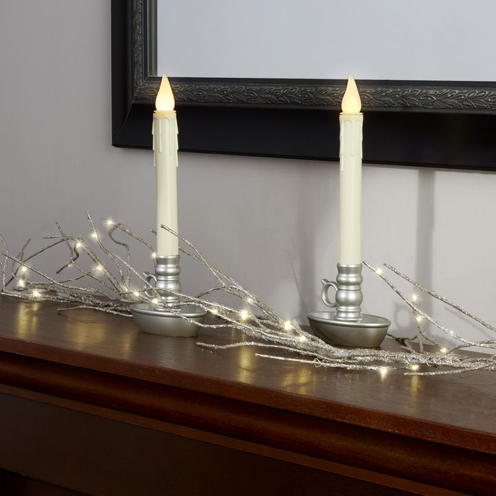 Ivory Drip Battery Window Candles with Pewter Holders, Set of 2