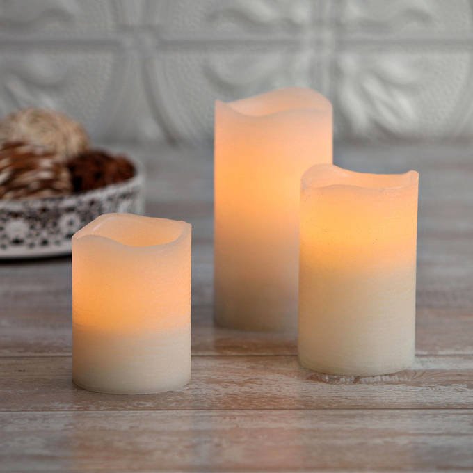 Distressed Ivory Flameless Wax Pillar Candle Set