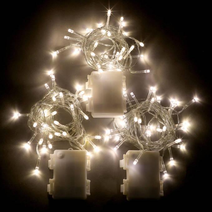 Battery String Lights White : Lights.com String Lights Battery String Lights Warm-White LED Battery-Powered String ...