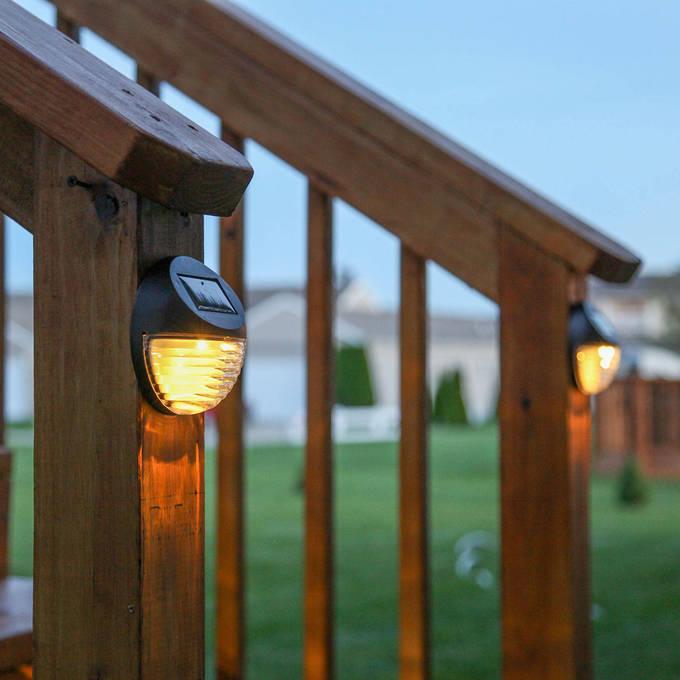 Brown Solar Fence Lights, Set of 4