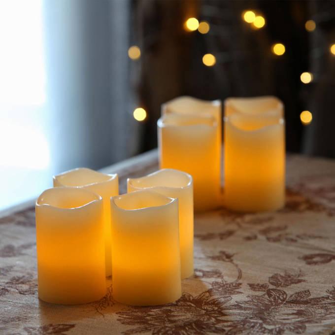 Nina Ivory Melted-Edge Wax Flameless Votive Candles, Set of 8