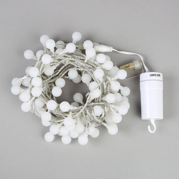 Lights.com String Lights Battery String Lights Frosted Cool White Mini Globe Battery ...