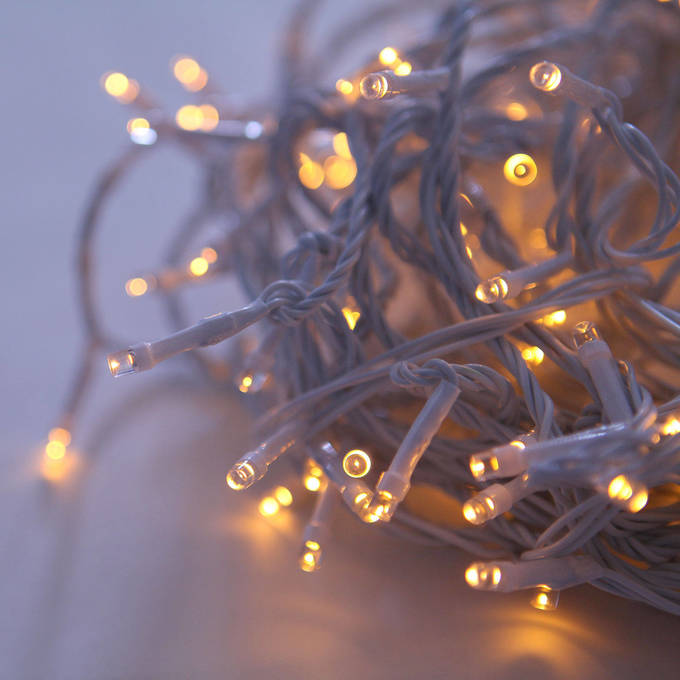 Warm White 200 LED Connectable White Cable Battery String Lights