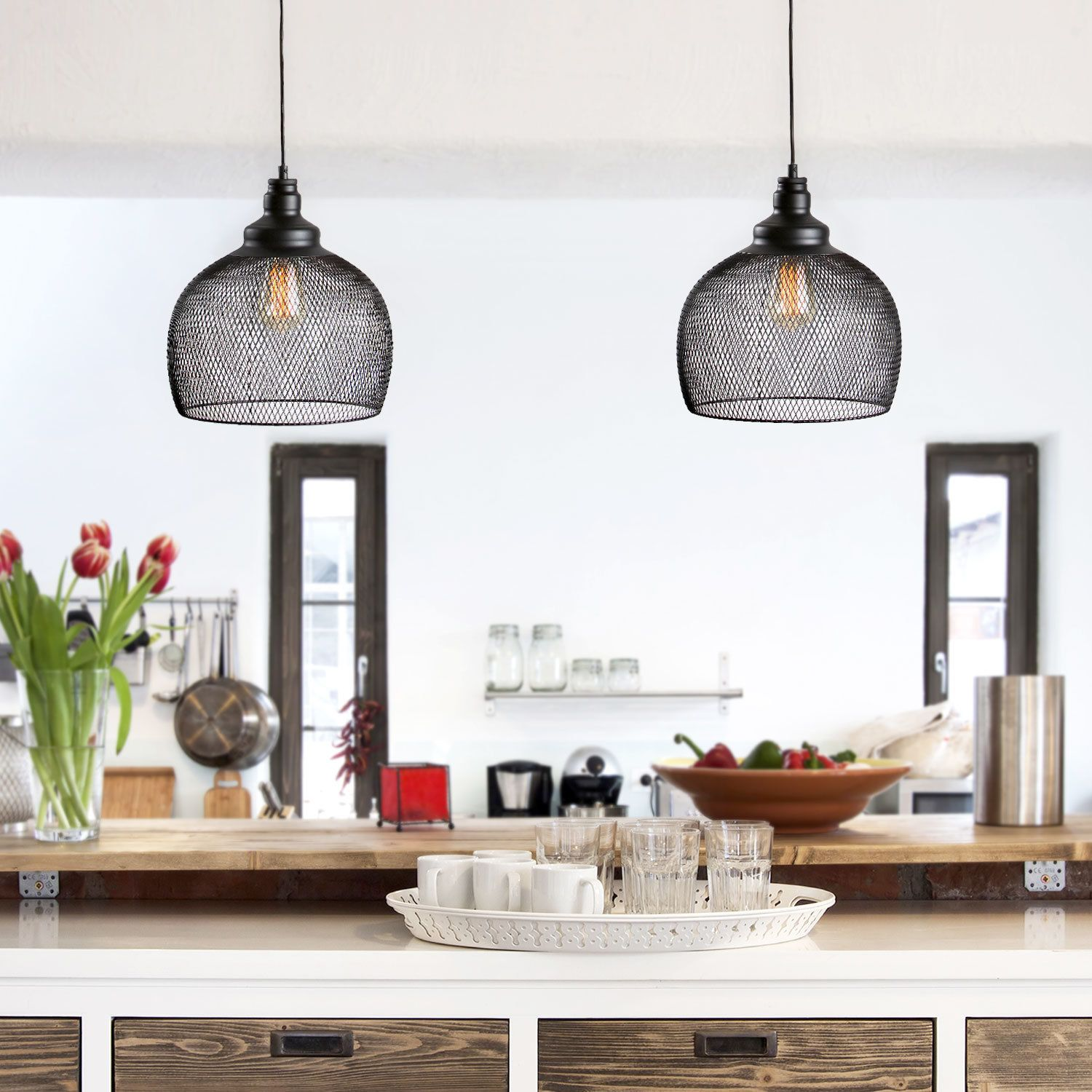 Black Chandelier Lighting Kitchen Vintage Pendant Light: Pendant Lighting