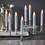 "White 7"" Flameless Resin Taper Candles with Removable Silver Bases, Set of 8"