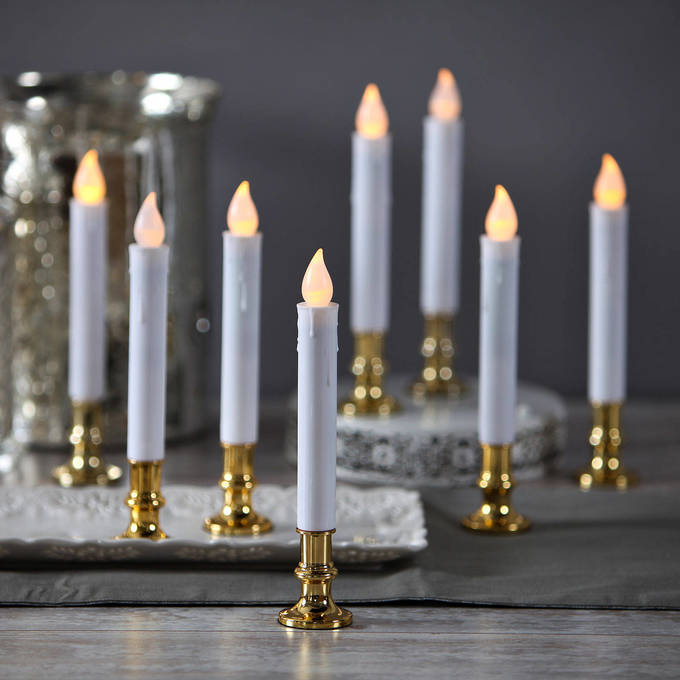 lightscom decor flameless candles flameless taper candles white 7 flameless resin taper candles with removable gold bases set of 8