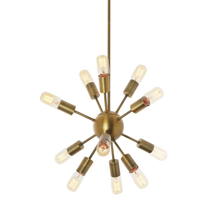 12-Light Aged Brass Sputnik Chandelier