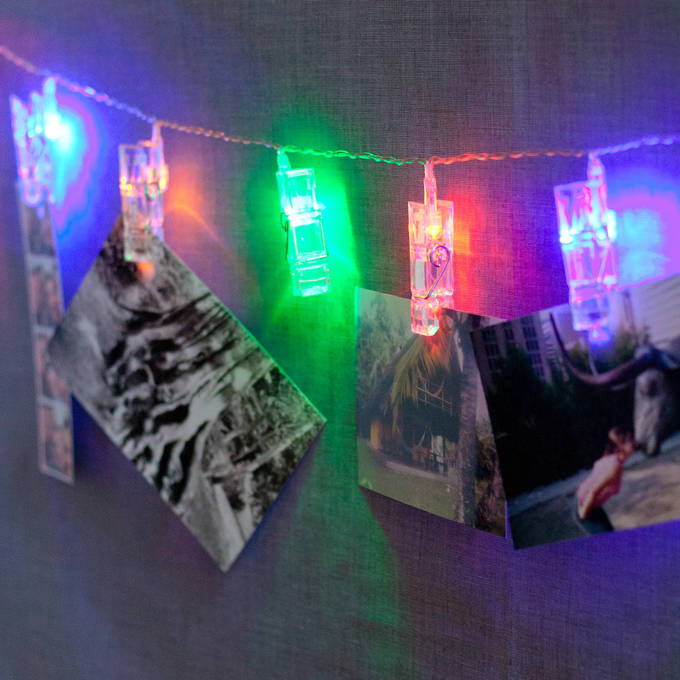 Multicolor 20 LED Clothespin Battery String Lights, Set of 2