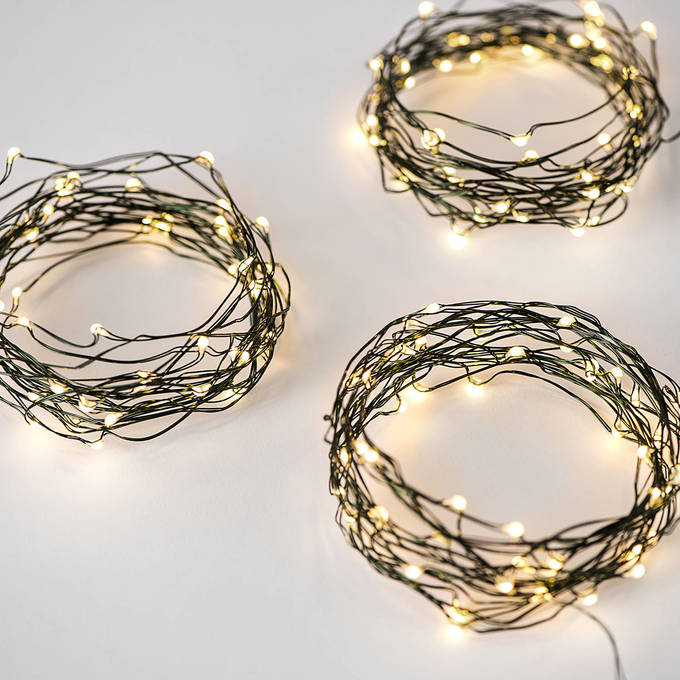 Warm White 50 LED Constellation Series Green Wire Battery String Light, Set of 3
