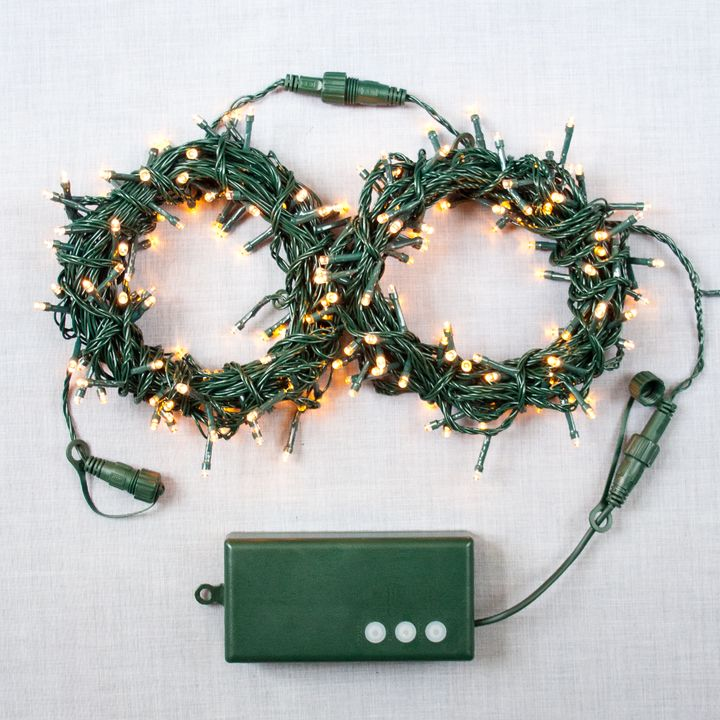 Warm White Connectable String Lights with D Battery Box, 62 Feet