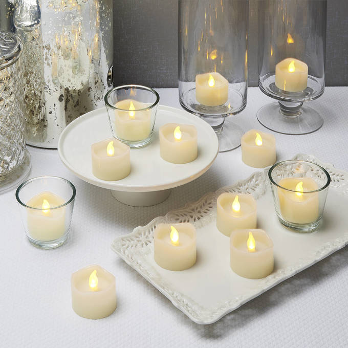 Warm White Melted Edge Flameless Ivory Tea Lights with Timers, Set of 12