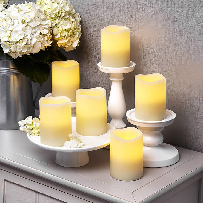 "Ivory 3x4"" Melted-Edge Flameless Pillar Candles, Set of 6"