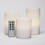 White Pearl Flameless Pillar Candles with Remote, Set of 3