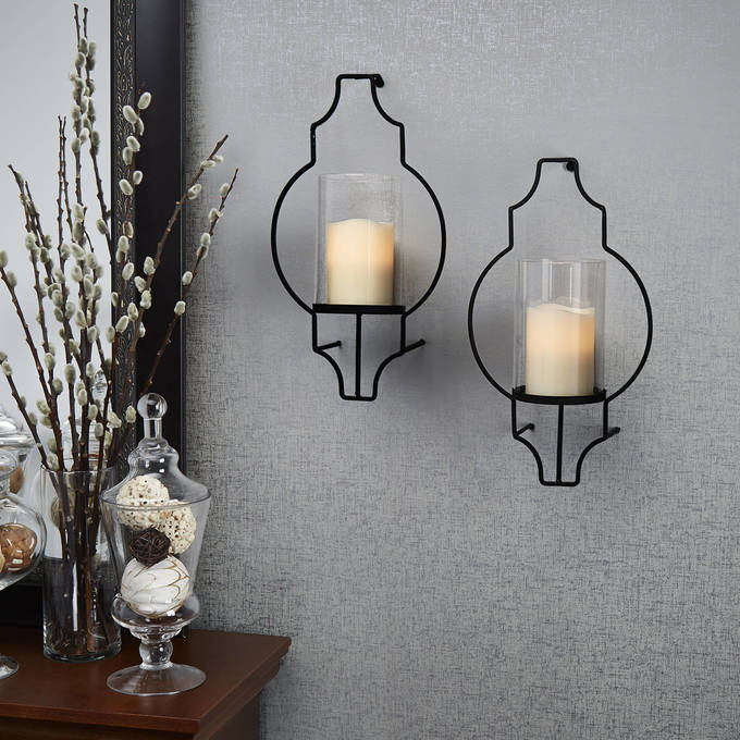 Hurricane Glass Flameless Candle Wall Sconce with Remote, Set of 2