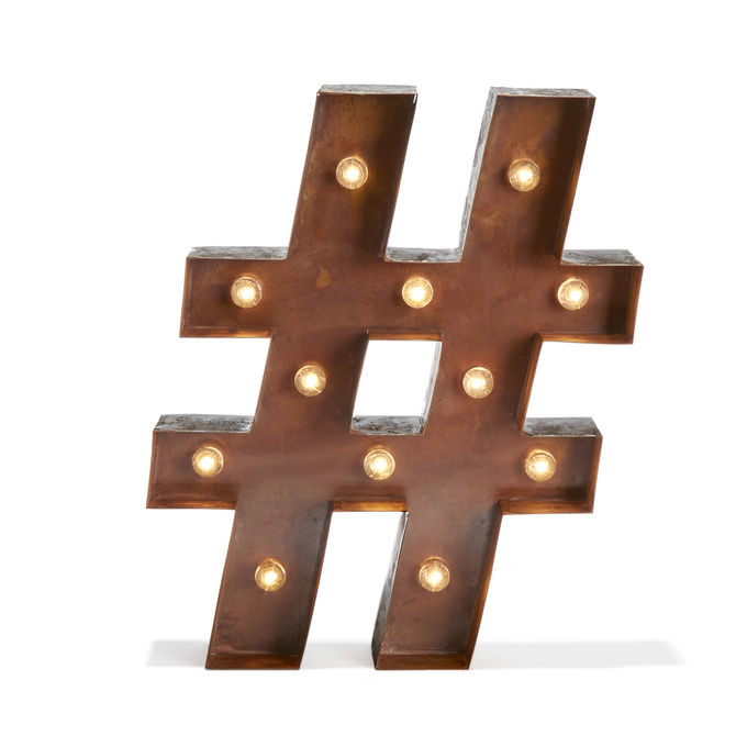 Vintage Metal 12 LED Marquee Hashtag Battery Light with Timer