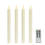 """Victoria Cream 10"""" Textured Flameless Taper Candles, Set of 4"""
