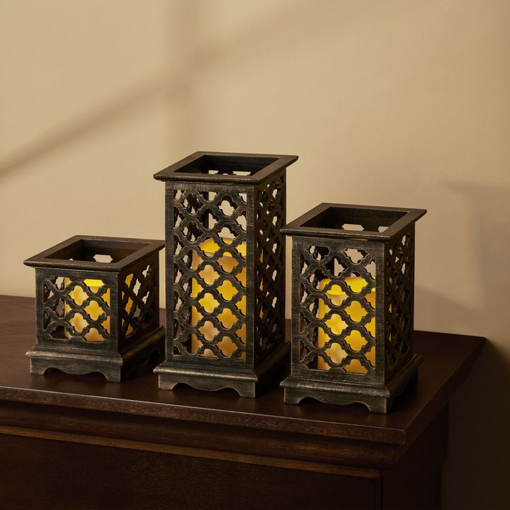 Tangiers Bronze Patina Lantern with Warm White LED Candle, Set of 3