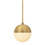 Powell Pendant with Hooded White Globe, Aged Brass