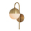 Powell Wall Sconce with Hooded White Globe, Aged Brass