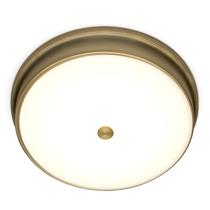 """Abbey 14"""" LED Flush Mount, Aged Brass"""
