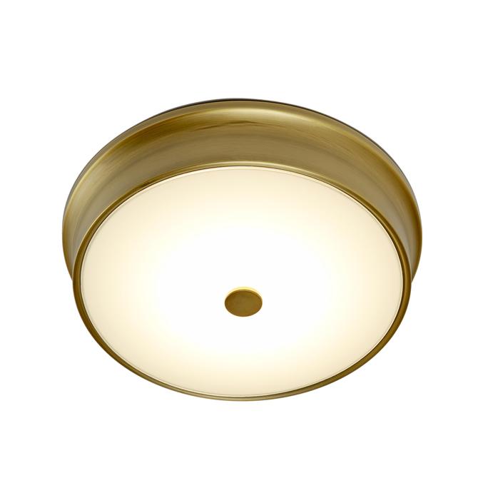 """Abbey 11"""" LED Flush Mount, Aged Brass"""