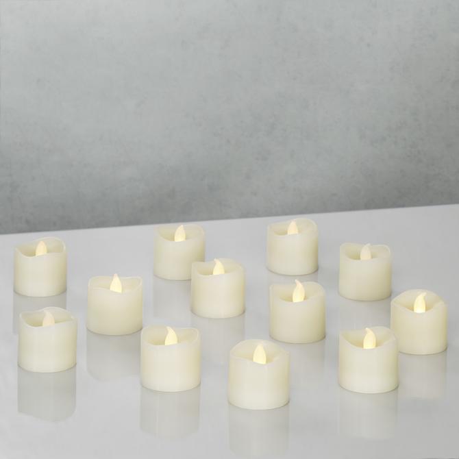 Cora Ivory Flameless Petite Votive Candles, Set of 12