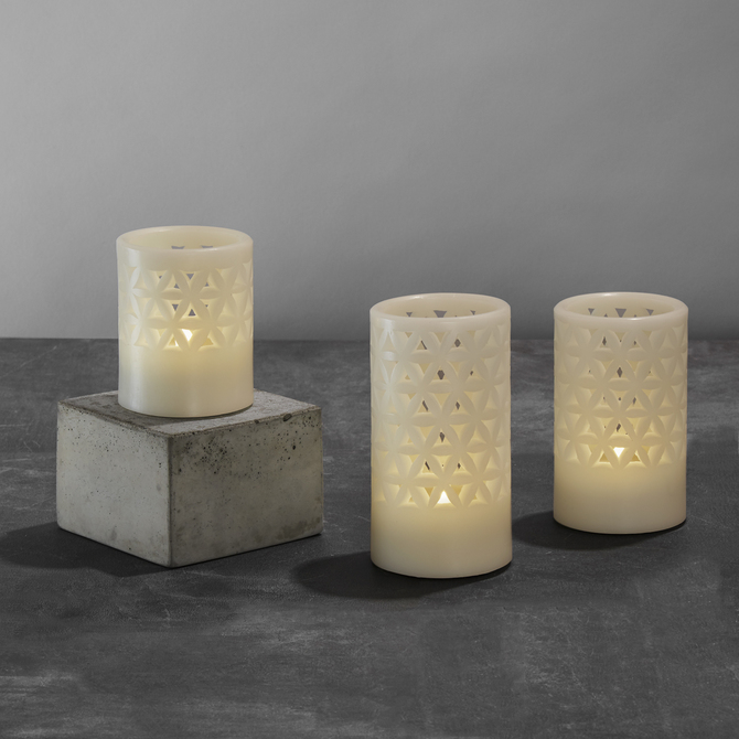trinity carved wax flameless candles set of 3 - Flameless Candles With Timer