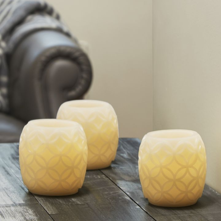 Trellis II Carved Ivory Candles, Set of 3