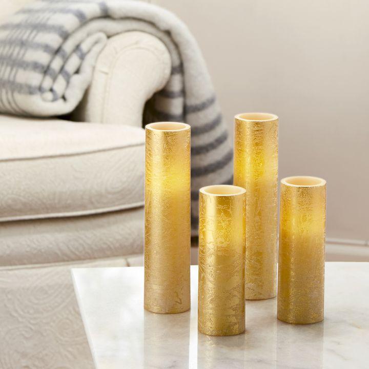 Rosalind Textured Gold Slim Pillar Candles, Set of 4