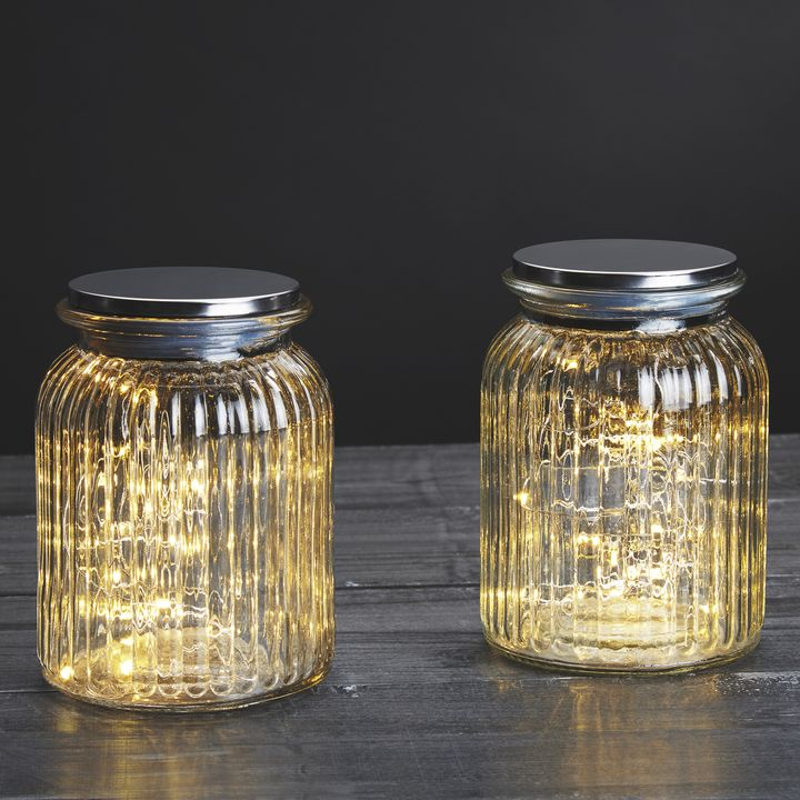 30 LED Silver Fairy Light Mason Jar, Set of 2