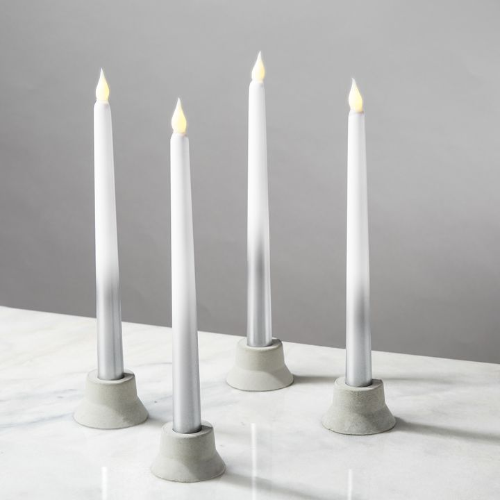 Silver Ombre Taper Candles, Set of 4