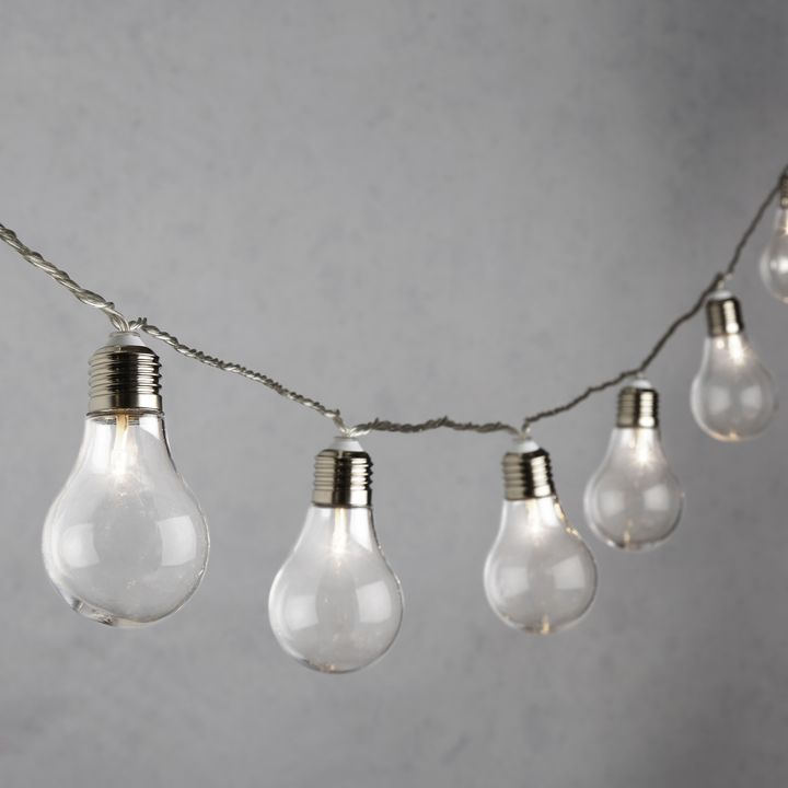 White LED Traditional Bulb String Lights, Strand of 20
