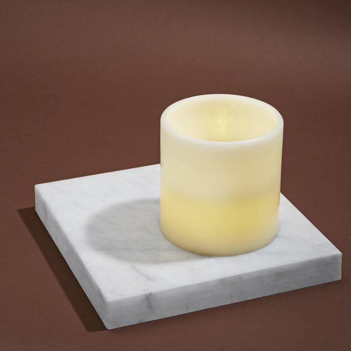 "Touchstone Ivory 6x6"" Flat-Top Flameless Pillar Candle"