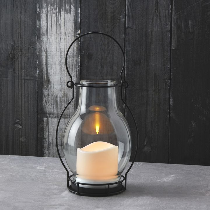 Meri Glass Lantern with Solar Candle