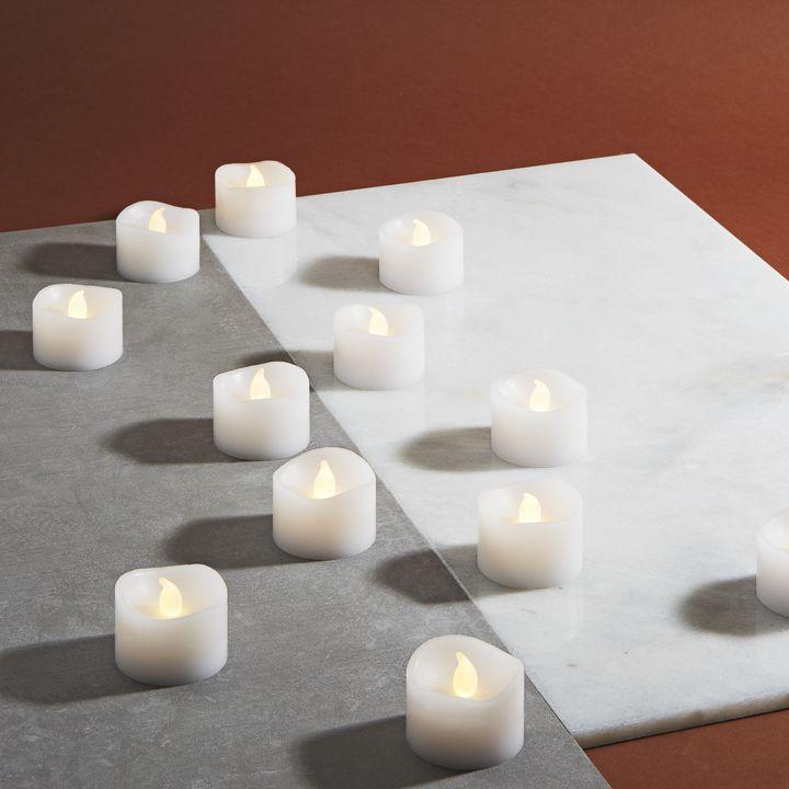 Cora White Wax Flameless Petite Votives, Set of 12