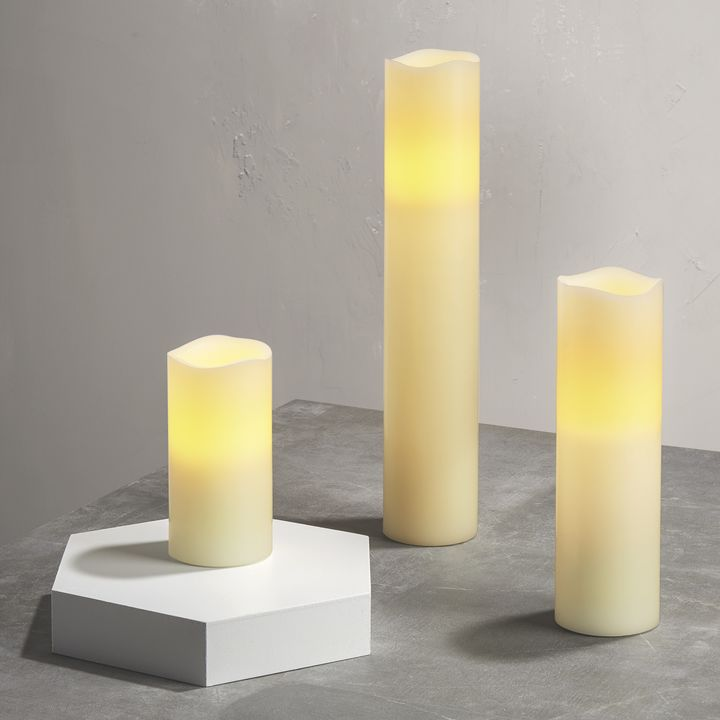 Tall Ivory Melted-Edge Flameless Pillar Candles, Set of 3