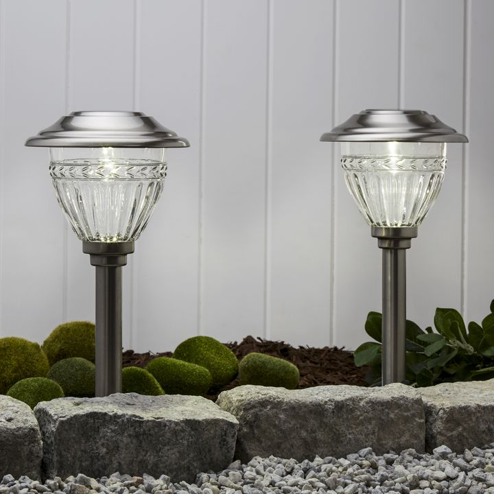 Marion Stainless Steel Bright-White Solar Path Lights, Set of 6